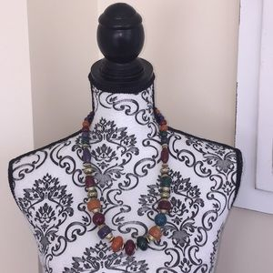 Vintage 80's Beaded Multi Color Necklace